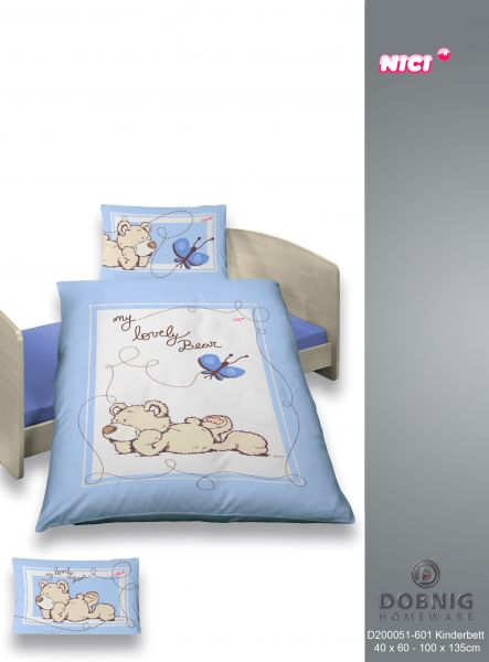 Renforcé Bettwäsche 2tlg. 100/135 cm 200051-601 NICI  My Lovely Bear blau