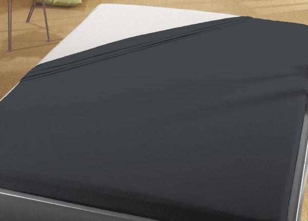 Jersey Spann Betttuch 100% Baumwolle 90x200 cm  -  100x200 cm    schwarz