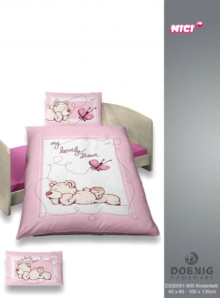 Renforcé Bettwäsche 2tlg. 100/135 cm 200051-600 NICI  My Lovely Bear rosa