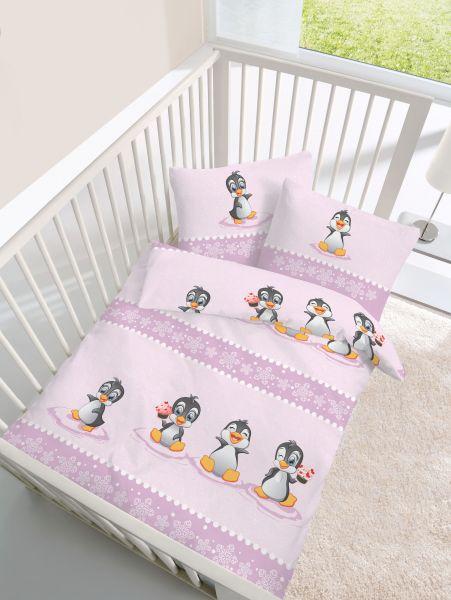 Biber Bettwäsche 2tlg 100135 Cm 27953 485 Baby Pinguin Zartrosa