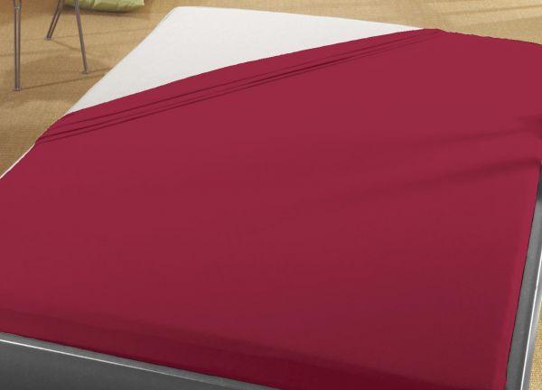 Jersey Spann Betttuch 100% Baumwolle 90x200 cm  -  100x200 cm    bordeaux