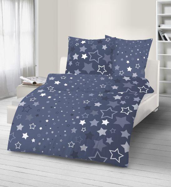 Biber Bettwäsche 2tlg. 135/200 cm 17715-441 Sterne dunkelblau