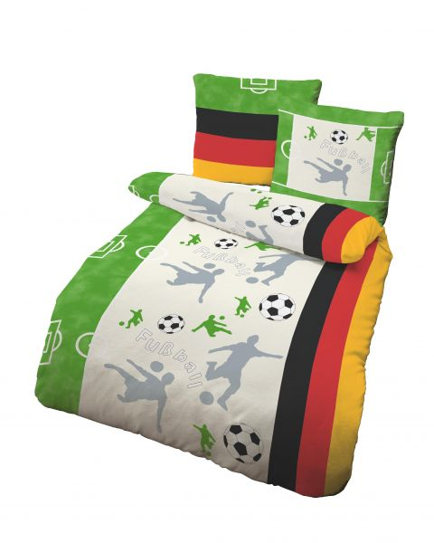 Biber Bettwäsche 2tlg. 135/200 cm 47590-607 Fußball  grün/weiss